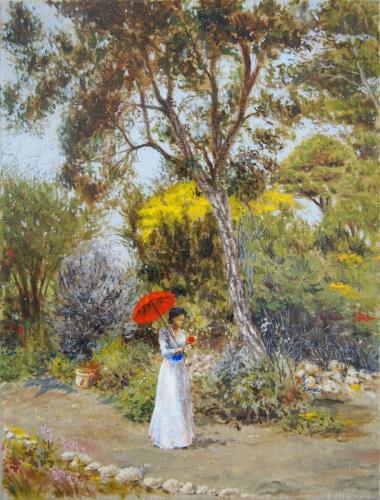 jardin avec chene liege, mimosas, et pins.