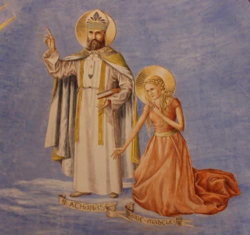 Saint Athanase indiquant du doigt le Pere, l'Esprit, et le Fils qui reçoivent meme adoration et meme gloire. Marie Madeleine tendue vers le Christ