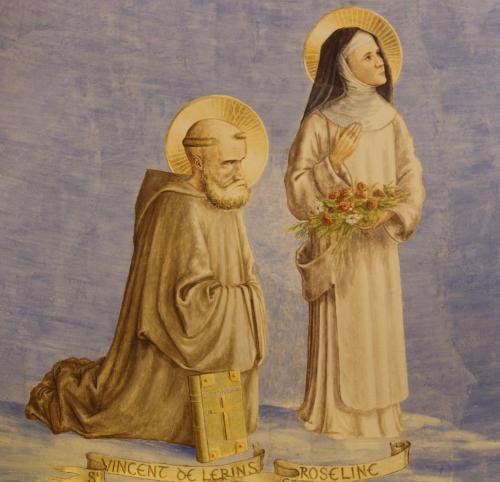 Saint Vincent de Lerins, le commonitorium à ses genoux, et sainte Roseline le regard vers le Pere