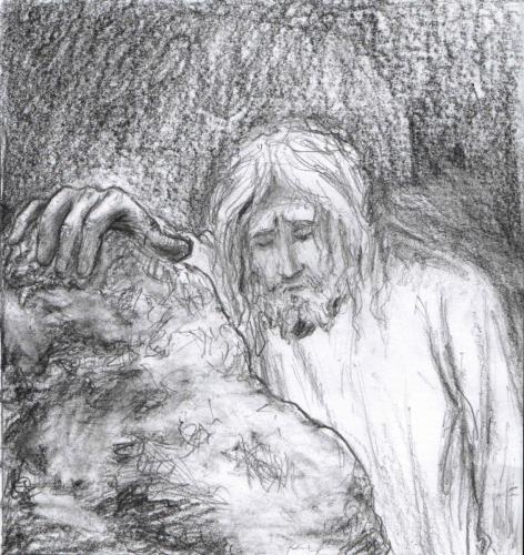 Le Christ seul (croquis en vue d'un tableau)