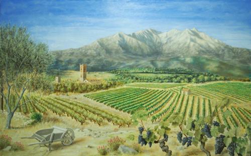 Le village de Rivesaltes et le Canigou