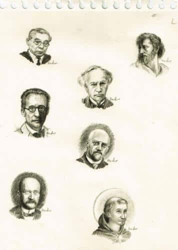 Portraits de savants-illustration d'un livre de philosophie des sciences