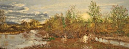 Soleil couchant sur les marais de Villeneuve