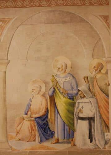Saint Jean, ecrivant sa vision de l'apocalypse, saint Pierre, en charge des brebis, Isaie, le rouleau de sa prophetie sur l'agneau  conduit à l'abattoir, et un missionnaire, en adoration devant l'Agneau pascal