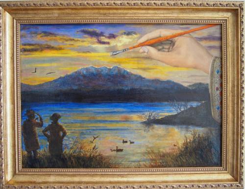 Le createur toujours a l'oeuvre. Ce tableau a ete vole au cours d'une exposition a Toulon. Si jamais vous tombez dessus, merci de me contacter !