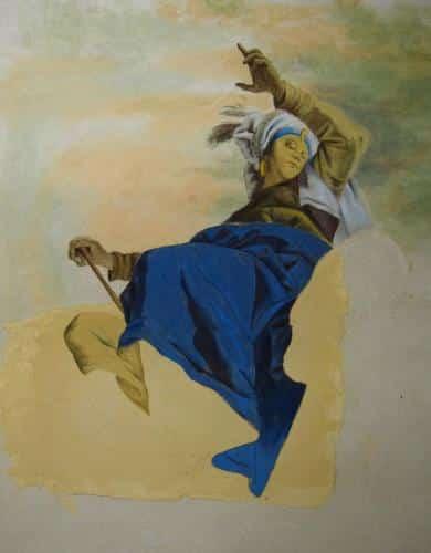 copie d'un detail d'une fresque de Tiepolo. La Giornata est visible, avant la decoupe.