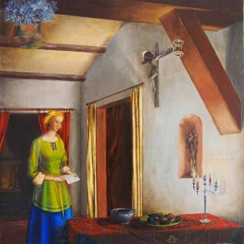 """La lettre d'Amour""""D'un amour eternel je t'ai aimee, aussi t'ai-je attire avec fidelité. Je te fiancerai à moi pour toujours, dans la fidelité et la misericorde. Viens, je t'emmenerai au desert, et je parlerai à ton cœur."""" (Cf Jeremie 31,3 et Osee 2, 16-22)(huile sur toile)"""