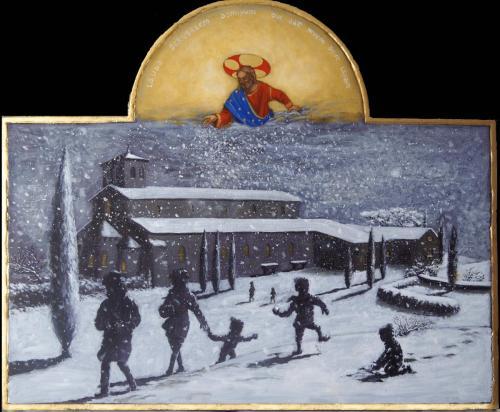 """""""Loue, Jerusalem, le seigneur qui repand la neige comme la laine""""."""